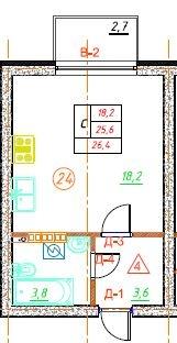 Планировка Студия площадью 26.4 кв.м в ЖК «Дубровка на Неве»