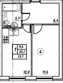 Планировка Однокомнатная квартира площадью 33.7 кв.м в ЖК «Дубровка на Неве»