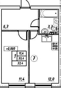 Планировка Однокомнатная квартира площадью 33.4 кв.м в ЖК «Дубровка на Неве»