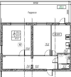 Планировка Двухкомнатная квартира площадью 67 кв.м в ЖК «Дубровка на Неве»