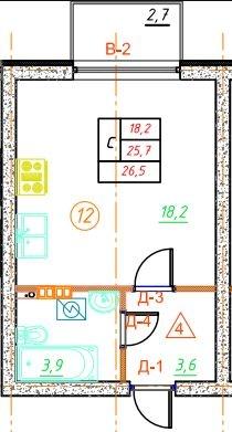Планировка Студия площадью 26.5 кв.м в ЖК «Дубровка на Неве»