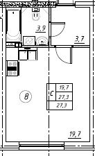 Планировка Студия площадью 27.3 кв.м в ЖК «Дубровка на Неве»