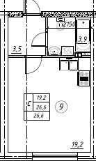Планировка Студия площадью 26.6 кв.м в ЖК «Дубровка на Неве»